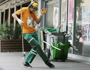 cool street cleaner man